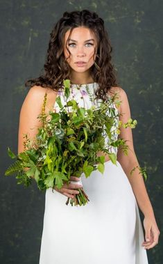 When your bridal outfit is this stunning, who needs an over the top bouquet? Wedding Flower Alternatives, Bridal Jumpsuit, Groom Pictures, Bridal Separates, Wedding Flowers, Wedding Dresses, Bridal Outfits, Alternative Wedding, Brides And Bridesmaids