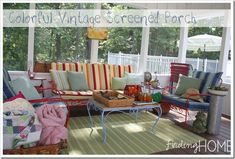 Vintage porch furniture - would enjoy going back in time on our new porch Vintage Outdoor Furniture, Porch Furniture, Furniture Design, Arrange Furniture, Iron Furniture, Furniture Projects, Screened Porch Designs, Screened Porch Decorating, Screened Porches