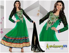 Extra 20% OFF on Green Black Floor Length #AnarkaliSuit. Pay Online & Save More. Shop Now:- http://www.shoppers99.com/neha_dhupia_designer_anarkali_suits/green_black_floor_length_anarkali_suit_t-484-574