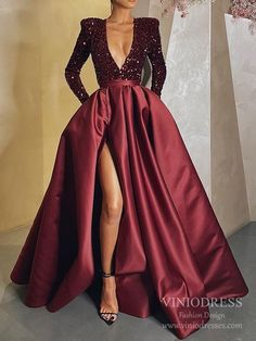 Sexy Deep V-neck Burgundy Satin Prom Dresses with Pockets FD2516 – Viniodress