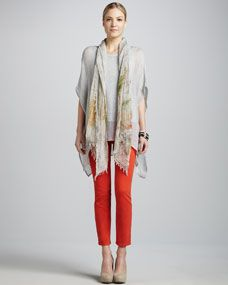 Mesh Boxy Tunic, Silk Tank, Splatter Painted Scarf & Skinny Ankle Jeans