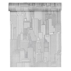 Papier peint vinyle expansé sur intissé City, blanc, larg. 0.53 m