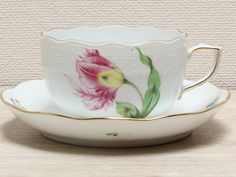 Spring Teacup and Saucer Hand-painted - Herend Bakoni