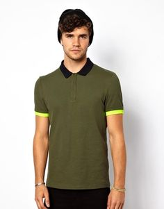 ASOS Polo With Neon Cuff And Contrast Collar