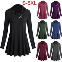 Wish | Ladies Fashion Long Sleeve Cowl Neck Long Sleeve Autumn Casual Shirt Pure Color