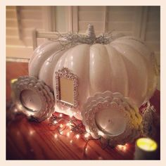 pumpkin carriage I made for my daughter's Cinderella photo shoot