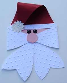Santa embellishment would look great in a Christmas layout. Stampin Up Christmas, Christmas Projects, Christmas Holidays, Christmas Decorations, Christmas Ornaments, Christmas Layout, Holiday Fun, Holiday Crafts, Gift Bows