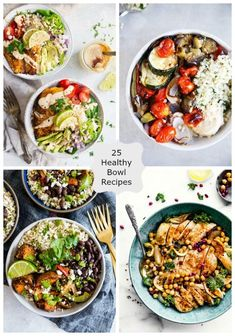 25 Healthy Bowl Recipes. These healthy bowl recipes are the perfect for lunch or dinner. Bowl recipes are also ideal for meal planning which is a huge bonus. via @CravingsLunatic #healthy #bowl #recipes #dinner #lunch
