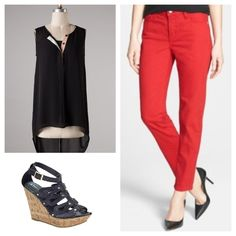 Black hi-low top paired with Yoga Ankle Jeans and a pair of studded wedges! HOT!!!