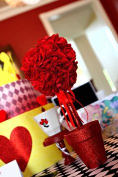 Alice in Wonderland Decorations - table rose balls (red and white stripe roses)
