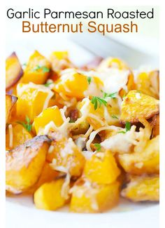 Garlic Parmesan Roasted Butternut squash - delicious butternut squash roasted with butter, garlic & Parmesan cheese.