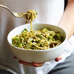 Brown rice pasta with broccoli, pesto, toasted almonds and peas - Madeleine Shaw