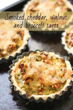Smoked cheddar, walnut and broccoli tarts - these are perfect as little appetisers, or served for dinner with buttered potatoes and salad. They have so much flavour! vegetarian recipe for parties Fingerfood Recipes, Brunch Recipes, Snack Recipes, Dinner Recipes, Tapas, Smoked Cheese, Cheddar Cheese, Savoury Baking, Savoury Pies