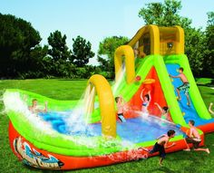 Banzai Wipeout Curve Inflatable Water Park inflates in less than 3 minutes. Features activity lagoon, banked curve for a wet and wild ride. Big Water Slides, Kids Water Slide, Intex Hot Tub, Backyard Water Parks, Inflatable Water Park, Bouncy House, Play Gym, Water Toys, Summer Fun