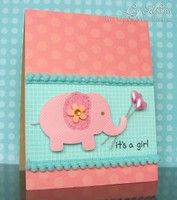 Sweet elephant baby girl card by Lucy Abrams