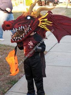 Coolest Homemade Dragon Halloween Costume Idea & milk jug dragon mask for Halloween - step by step tutorial ...