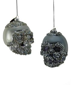 Look at this Encrusted Glass Skull Hanging Ornament - Set of Two on #zulily today!