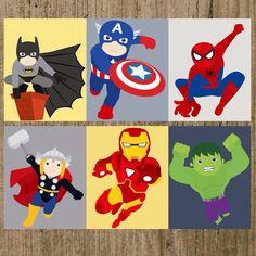 Superheros in action prints  set of 6 prints par MoreThanWords17, $29.00