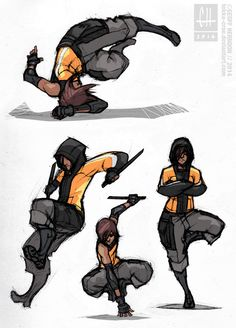 Reina- Movement Studies by Tekka-Croe on DeviantArt Character Poses, Character Design References, Character Concept, Character Art, Concept Art, Sci Fi Characters, Girls Characters, Fighting Poses, Dynamic Poses