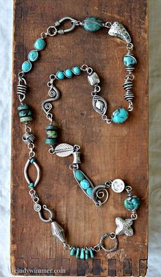 Handmade turquoise and sterling silver wire link necklace by Cindy Wimmer     #wirework #silverwirerings