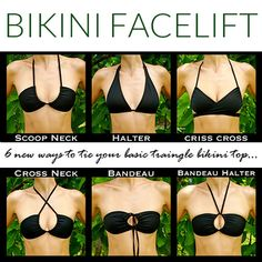 Tired of the same triangle bikini top you've been wearing all Summer? Check out these 6 ties to make it look like a new suit. #diy #summer #bikinis #fashion