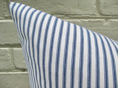 Pillow Cover Indigo Ticking Stripes by theCottageWorkroom on Etsy