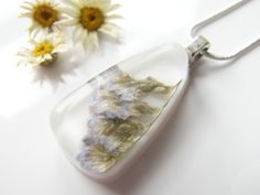 Real Sea Lavender White Resin Necklace Teardrop Pendant - SEA LAVENDER £16.00