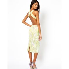 ASOS Backless Midi Sequin Dress found on Polyvore $148