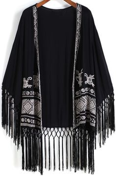 Kimono suelto flecos-negro