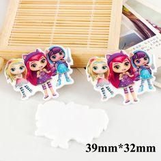 50pcs Cartoon Character Little Charmers Flatback Resin Kawaii Planar Resin Craft DIY Christmas Home Decoration Accessories