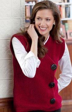 Free Knitting Pattern - Women's Vests: Side Buttoned Vest