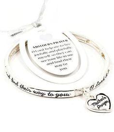 NEW MOM MOTHER prayer inspired BRACELET heart love SILVER STRETCH charm gift