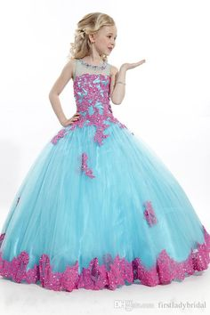 Pageant Dresses For Teens Ball Gown Tulle Appliques Lace Wholesale Flower Girls Gowns Pink And Sky Blue Colors 2015 Little Girl Party Dress Young Girls Dresses Baptism Dresses For Toddlers From Firstladybridal, $83.85| Dhgate.Com
