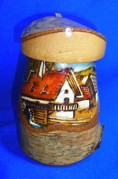 Handicraft German Birches Wood Handpainted Lidded Beer Stein House Motive #CF3