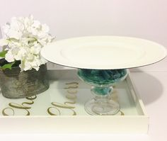 Cake stand,floral cake stand ,white cake stand by CocktailNConfettiCo on Etsy