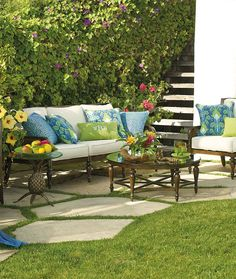 A clever union of classic style and premium materials translates your elegant lifestyle to the open air. The Bimini Seating Collection pairs handwoven caning with strong cast-aluminum frames. | Frontgate: Live Beautifully Outdoors