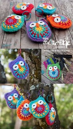 Owl key chains with free pattern, ook nederlandse vertaling.LOVE this free crochet pattern! I'm made a small stash of these crochet owl keychains for handy thank you gifts :-) You can…crochet baby mittens Crochet Baby Owls Pattern Free Video Tutori Yarn Projects, Knitting Projects, Crochet Projects, Sewing Projects, Crochet Diy, Crochet Gifts, Crochet Owls, Crochet Ideas, Crochet Designs