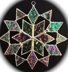 stained glass snowflake suncatcher  design 6 por bitsandglassart