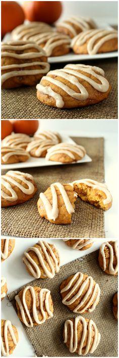 Pumpkin Toffee Cookies with Brown Butter Glaze | www.chocolatewithgrace.com | #pumpkin #toffee #cookies #glaze
