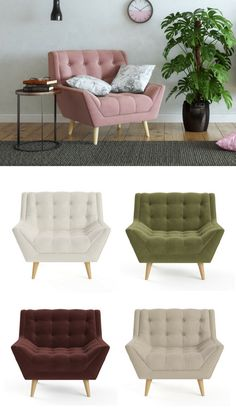The Pia Armchair takes cues from retro design with simple designer touches keepi… - RETRO FURNITURE Painted Bedroom Furniture, Lounge Furniture, Retro Furniture, Cheap Furniture, Furniture Plans, Rustic Furniture, Furniture Makeover, Furniture Design, Furniture Cleaning