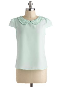 Pearly-cue Top - Green, Solid, Pearls, Peter Pan Collar, Daytime Party, Cap Sleeves, Mid-length, Pastel