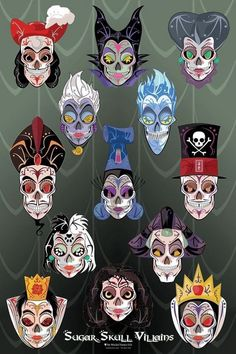 Disney villian sugar skull art