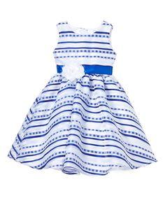 White & Blue Stripe Tulle Dress - Infant, Toddler & Girls