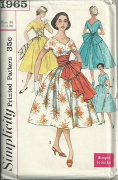 Vintage 1950s Simplicity 1965 Sewing Pattern  50s by RebekaVintage