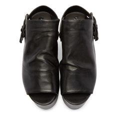 Marsèll Black Leather Platform Tampolo Sandals