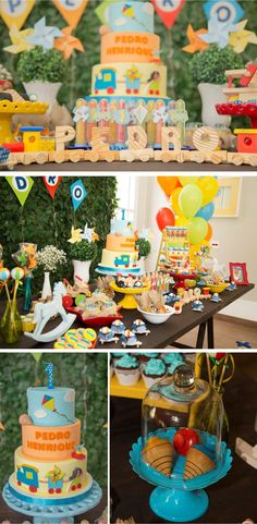 Festa Infantil - Brincadeira de criança - Por Cristina Boross - Blog Festa de menino 1st Birthday Boy Themes, Baby Boy Birthday, 1st Birthday Parties, Birthday Decorations, Circus Theme Party, Party Themes, Transportation Birthday, Cinderella Party, Baby Party