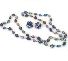 Vintage Carnival Glass Bead Necklace and by VintageByTiffinie