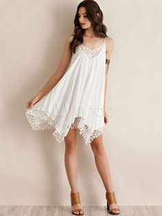 Weißen Shift Kleid Straps Spitzen asymmetrischen Sommerkleid - Milanoo.com