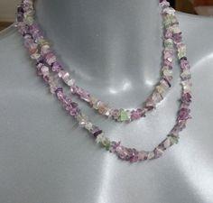 Halskette Fluorit lila/grün ohne Verschluss MK132 von Schmuckbaron