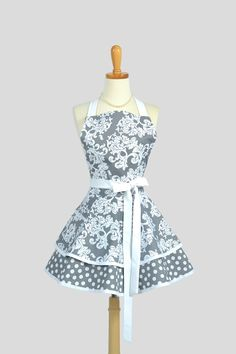 Ruffled Retro Apron - Cute Womens Apron in Grey and White Damask Full Bib Kitchen Apron. $45.00, via Creative Chics.